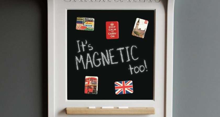 Chalk Board Magnetic Noticeboard Key Rack