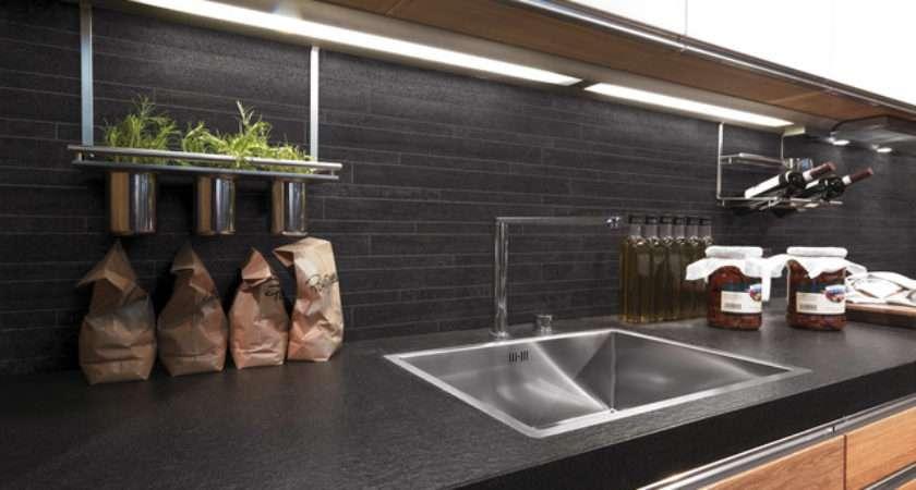 Charcoal Mosaic Kitchen Splashback Contemporary