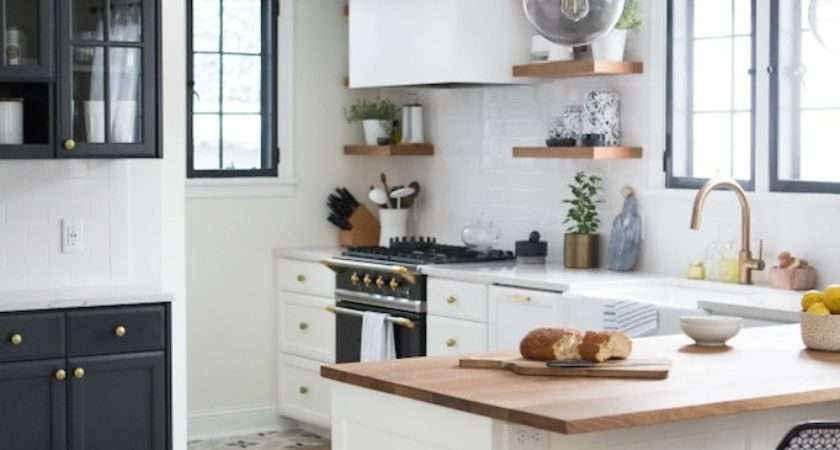 Charming Black White Brass Kitchen Renovation