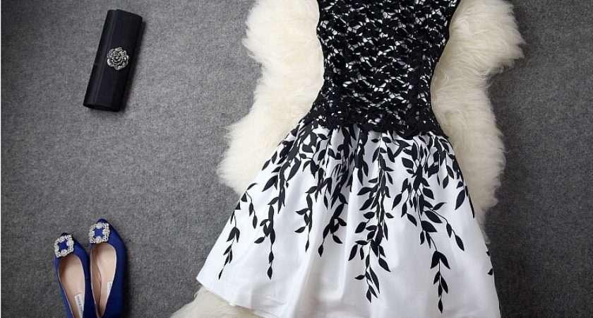 Cheap Women Black White Dresses