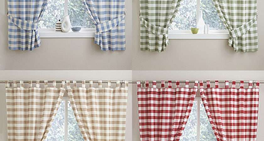 Check Gingham Kitchen Curtains Tab Top Header Blue