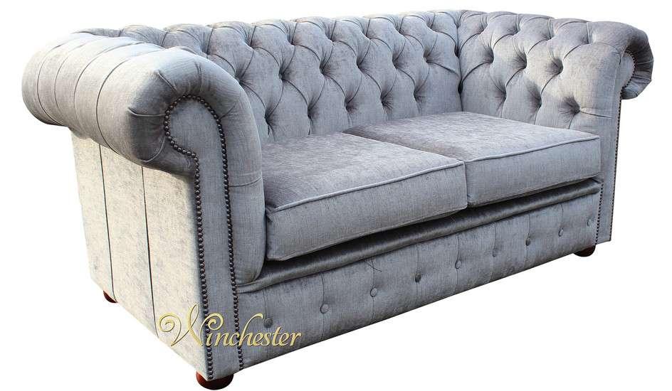 Chesterfield Seater Settee Perla Illusions Grey Velvet Sofa Offer