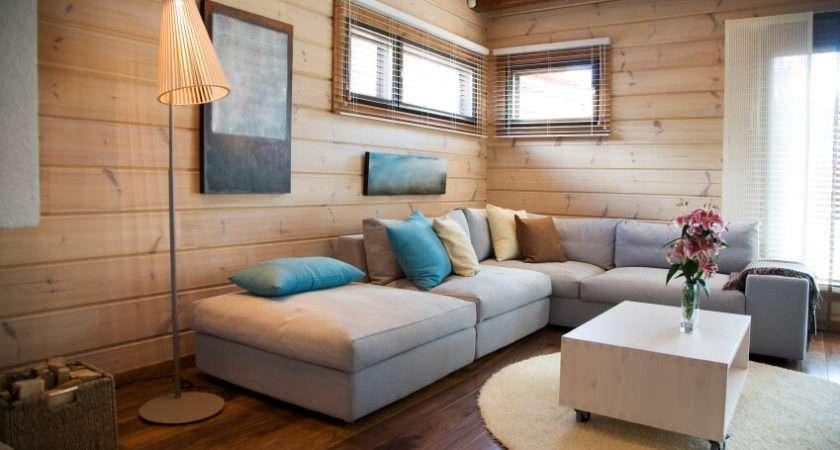 Chic Minimalist Living Room Light Wood Paneling