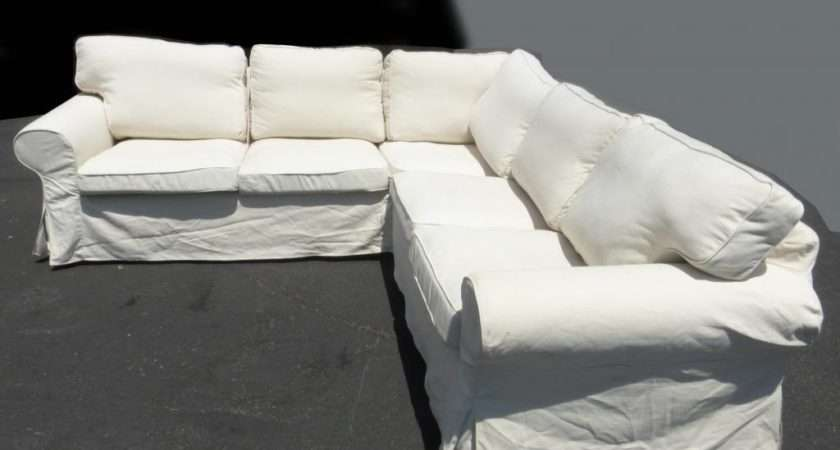 Chic Shabby Oversized White Sectional Corner Couch Sofa French Country