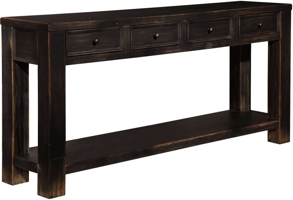 Chicago Solid Wood Sofa Table Rubbed Black Finish