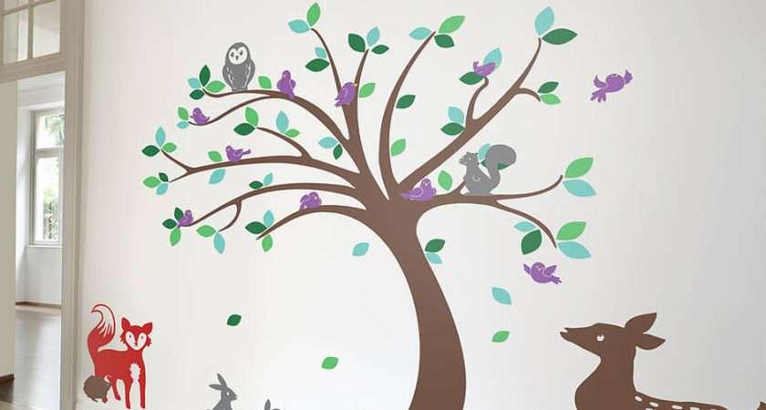 Children Tree Animals Sticker Set Contemporary Wall Stickers