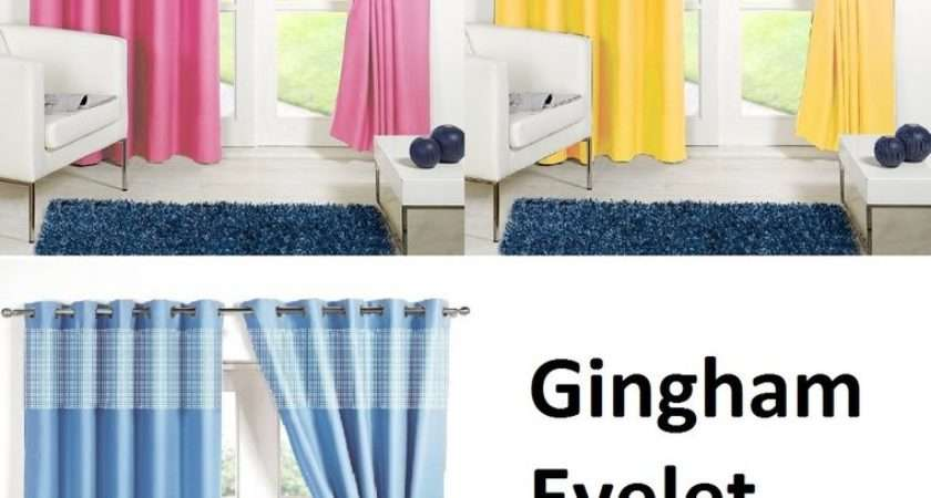 Childrens Gingham Thermal Blackout Curtains Eyelet Ring Top