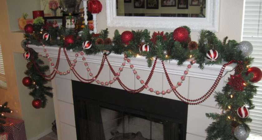 Christmas Fireplace Decorating Idea Cover White Color