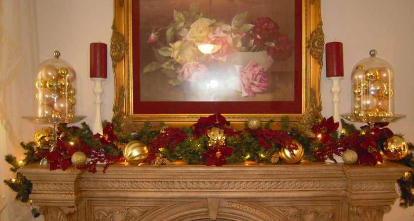 Christmas Fireplace Mantel Decorations Decor Elegant