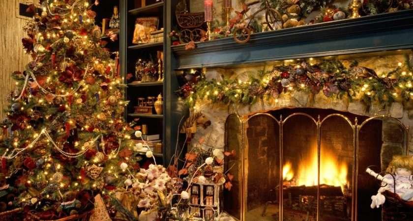 Christmas Fireplace Open Walls