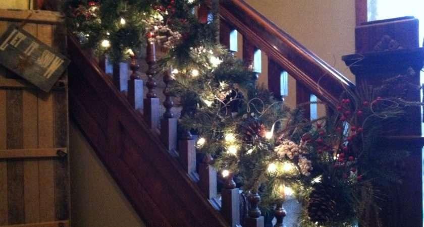 Christmas Garland Staircase Tis Season Pinterest