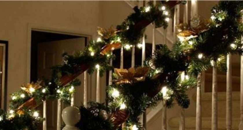 Christmas Garlands Lights Stairs Happy Holidays