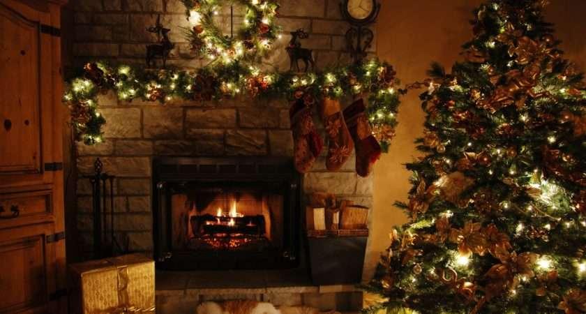 Christmas Living Room Scene White Table Lamp Blue Tree Nice
