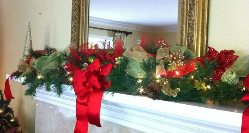Christmas Mantel Garland Holiday Decor Ginger Pinterest