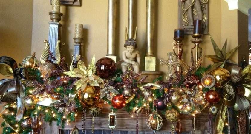 Christmas Mantel Garland Tree Decorations Pinterest