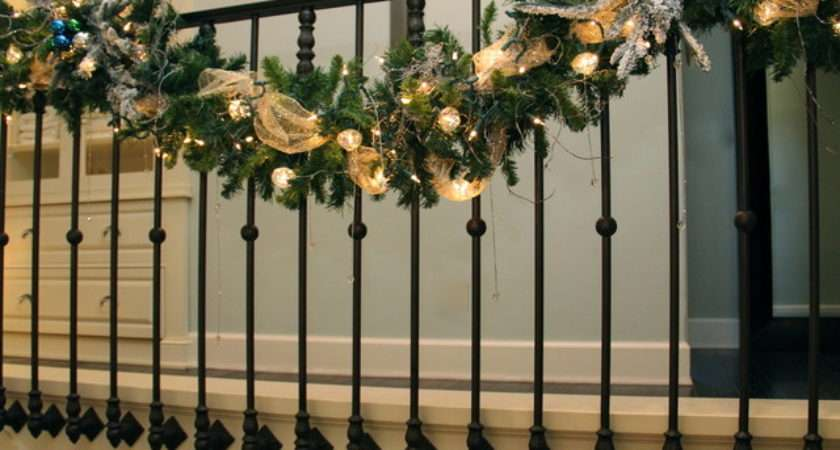 Christmas Stair Garland Transitional Staircase