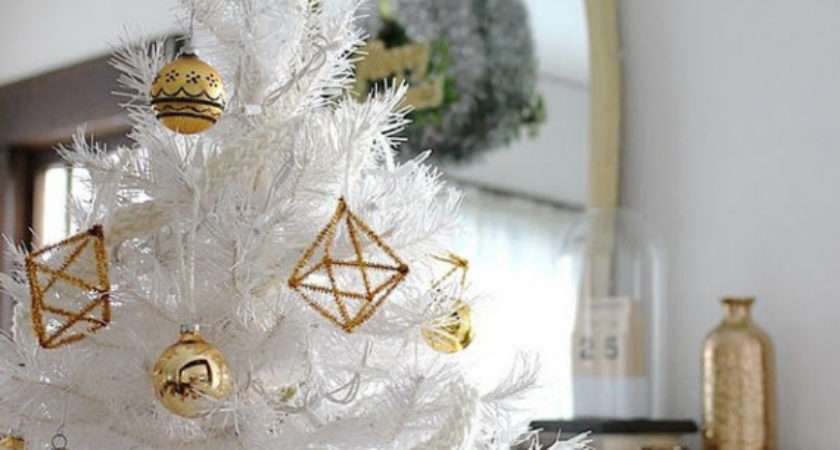 Christmas Tree Decorations Gold White Happy Holidays