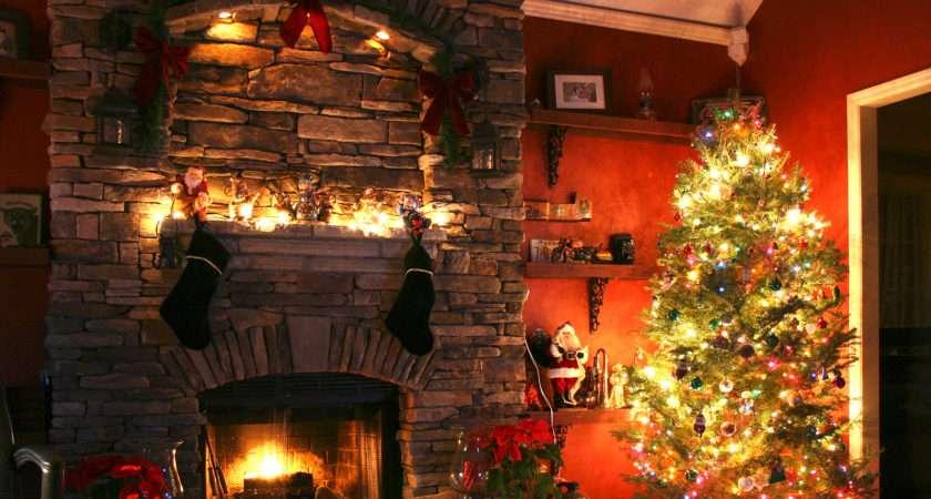 Christmas Tree Next Fireplace
