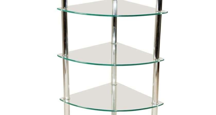 Chrome Silver Glass Tier Display Shelf Shelves