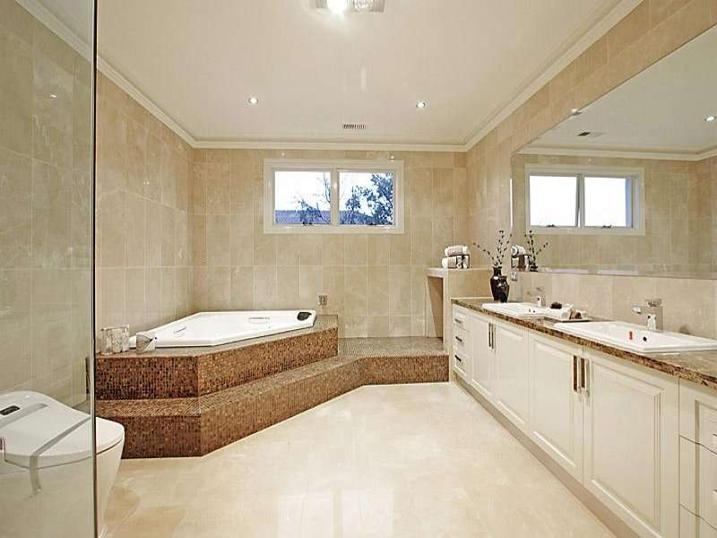 Classic Bathroom Design Corner Bath Using Glass
