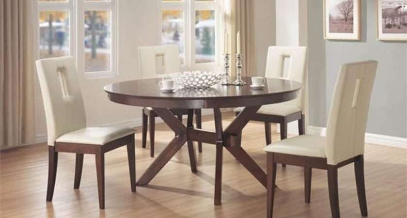 Classic Modern Round Kitchen Table Grey Accent Wall Chic
