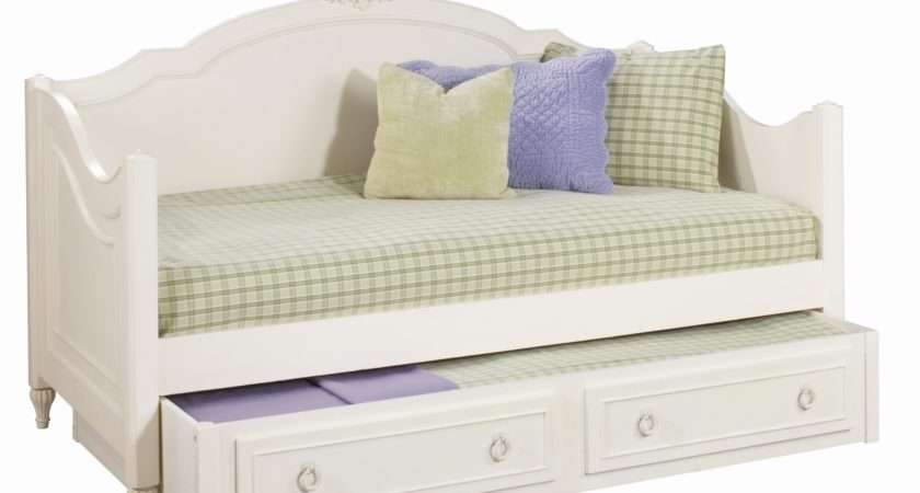 Classic White Wooden Day Bed Trundle Drawer Curved