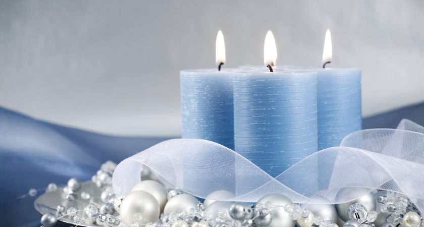 Cluster Blue Candles Silver Baubles Contemporary Look