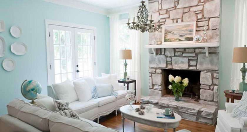 Coastal Living Room Design Ideas Fireplace