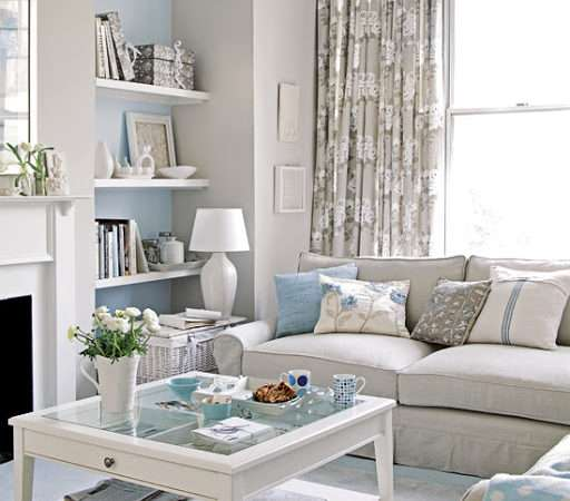 Coastal Living Room Idea Beach Theme Gray Blue Color