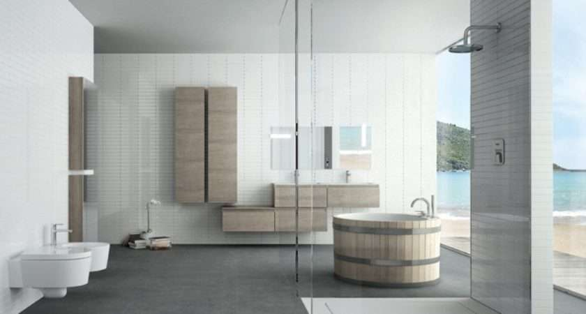 Coastal Round Bathtub Bathroom Design Ideas Tiles