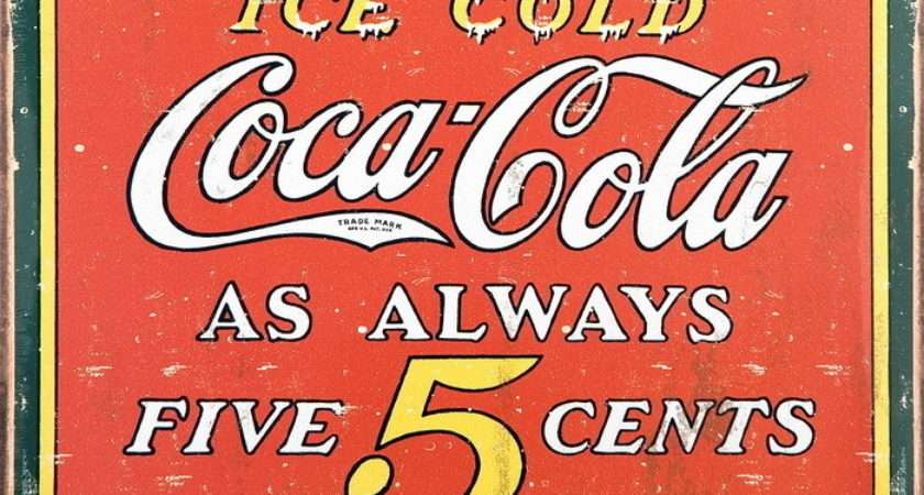 Coke Vintage Cents Tin Signs Metal Sold Europosters