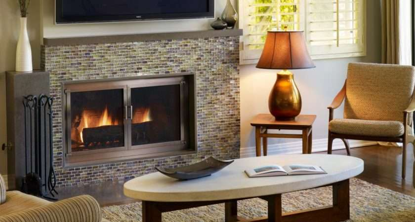 Colorful Tile Fireplaces Living Room Dining Decorating