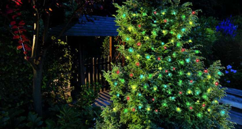 Coloured Led Christmas Tree Lights Multi Effect Solar Lighting
