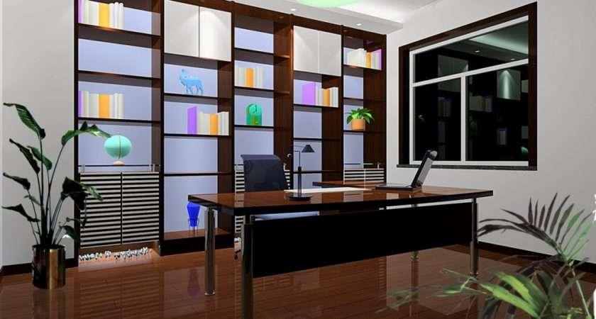 Computer Bookcase Modern Black Study Room Home