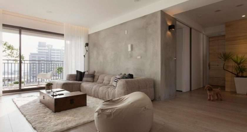 Concrete Feature Wall Living Room Olpos Design