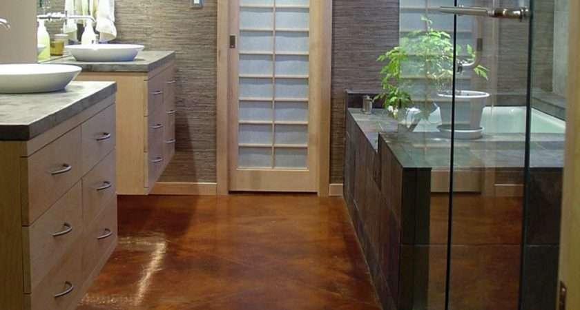 Concrete Flooring Alternative Traditional Bathroom