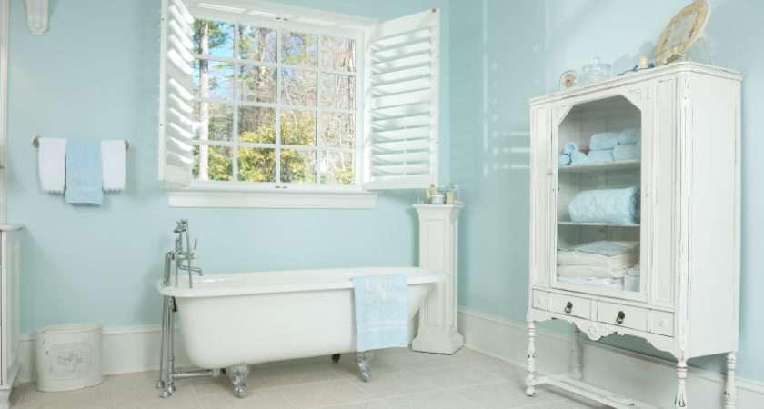 Contemporary Clean Bathroom Mostly White Light Aqua Walls