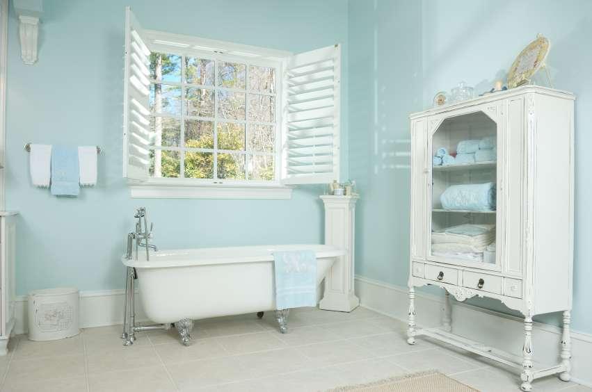 Contemporary Clean Bathroom Mostly White Light Aqua