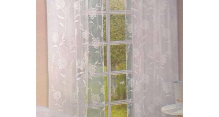 Contemporary Collections Flower Patterned Voile Panel Curtains