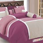 Contemporary Urban Patchwork Comforter Set Plum Red Pink Silver