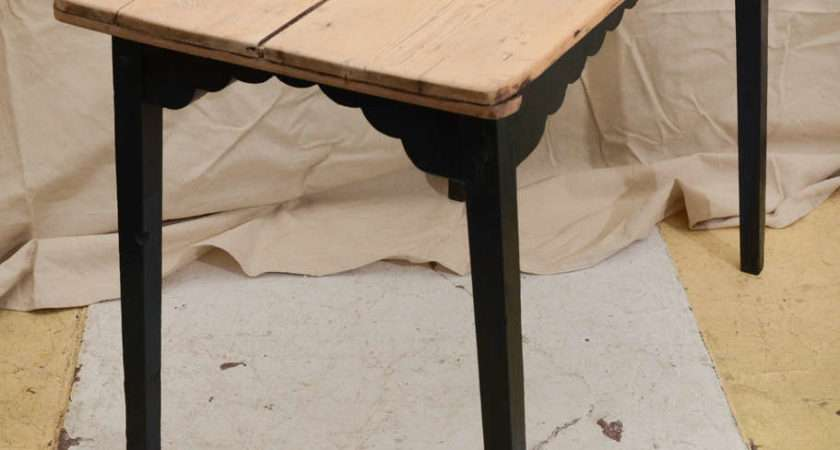 Continental Scrubbed Pine Side Table Blue Painted