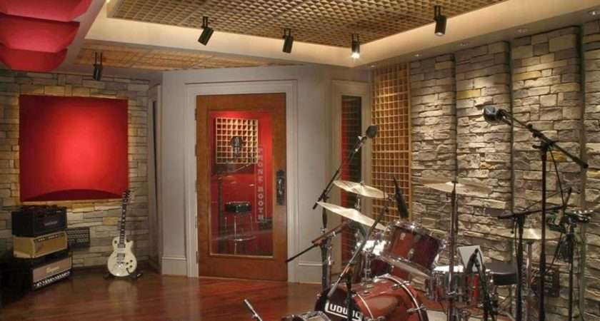Cool Music Room Ideas Stone Wall Hardwood