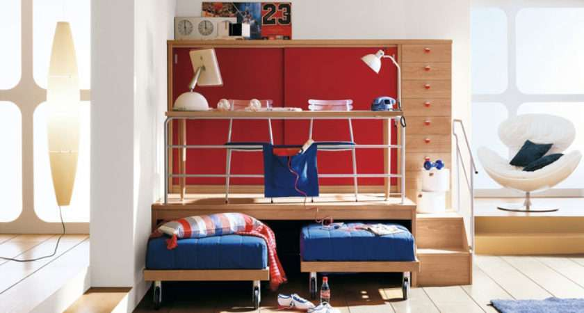 Cool Red Boys Bedroom Multilevel Study Table Interior Design Ideas