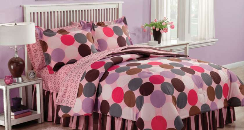 Cool Teenage Girl Bed Comforters Polka Dot Decoration