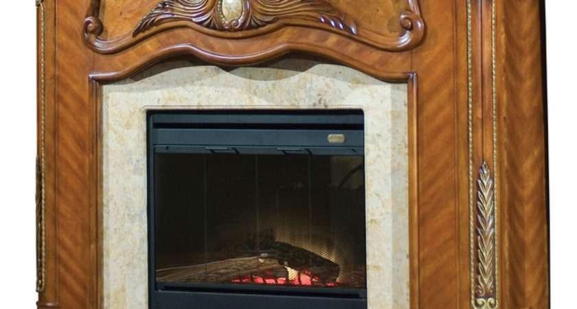Cortina Electric Fireplace Honey Walnut Finish