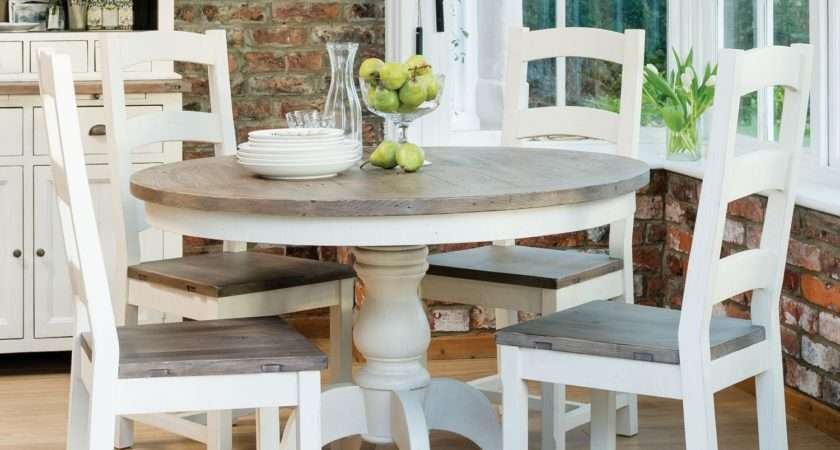 Cotswold Circular Table Four Wooden Chairs Dining Set