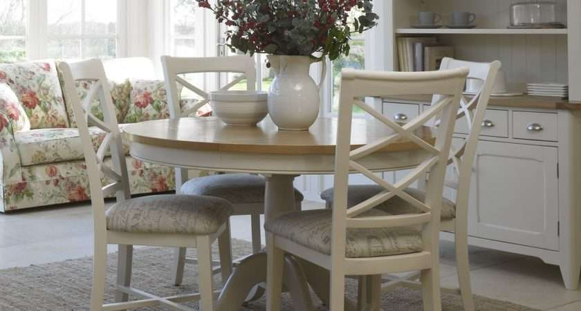 Cottage Oak Painted Round Dining Table Furniture