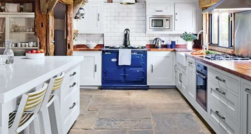 Country Kitchen Stone Flooring Decorating