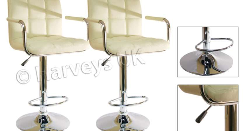 Cream Breakfast Bar Stools Faux Leather Barstools