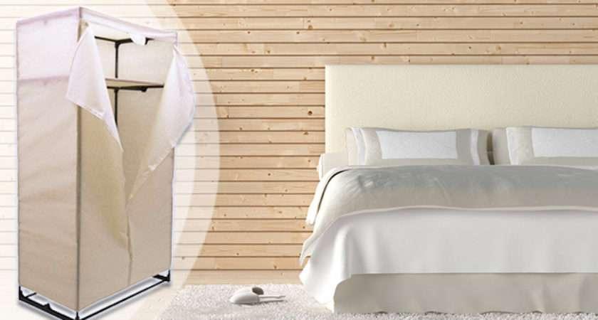 Cream Canvas Storage Wardrobe Off